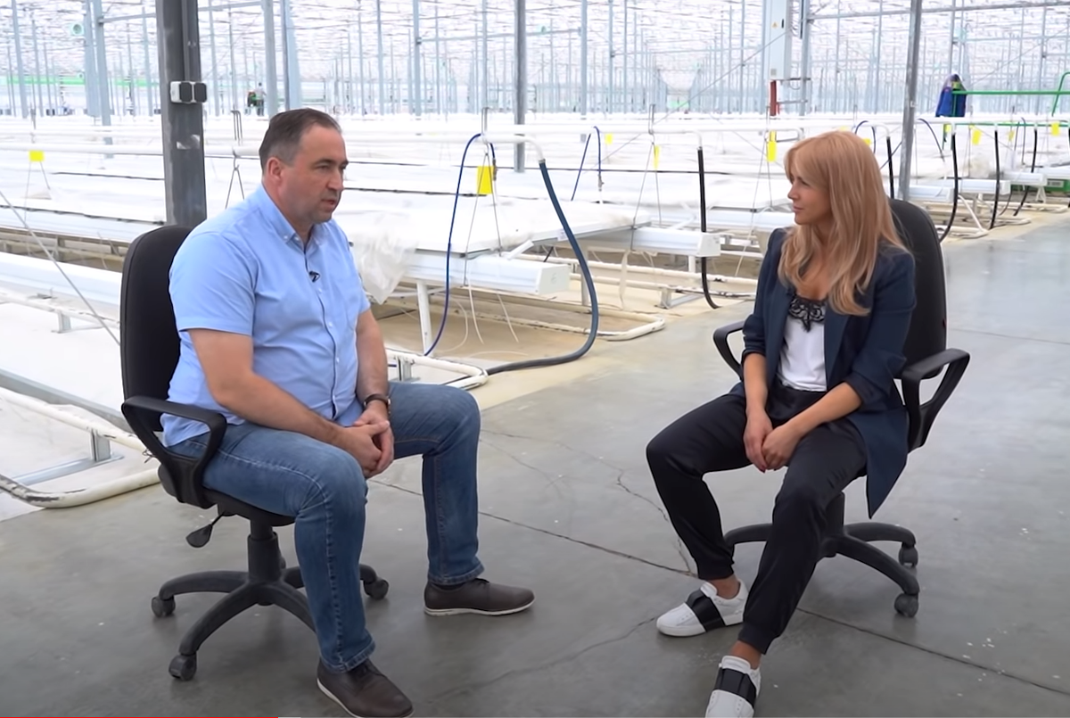 The director of the Tulskiy greenhouse complex gave an interview to a local TV channel